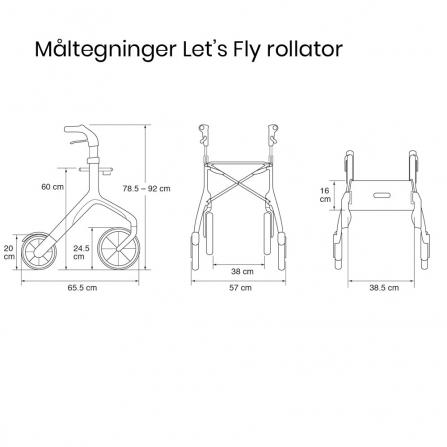 Trust Lets Fly udendørs rollator - måltegning